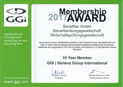 10 Jahre Mitglied in GGI